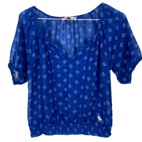 Abercrombie & Fitch Cropped Peasant Top Blue Small